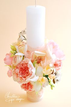 Maria, a dear and special little girl was baptized this spring. So what better flower arrangement to make than with spring flowers in pastel colours like daffodils, blossom cherry flowers, freesias, tulips, ranunculus and juliet roses. I used a new tipe of candle, short and thick, the perfect way to keep it as a flower […] Juliet Roses, Baptism Candle, Baby Dedication, Paper Bouquet, Pastel Colours, Centrepieces, Crepe Paper, Amazing Flowers, Daffodils