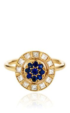 White Gold Ring with White Diamonds And Blue Sapphires by Sabine G for Preorder on Moda Operandi
