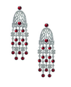 Jacob & Co.'s Jezebel Collection Small Earrings with Red Rubies and Round Cut Diamonds #JacobArabo #JacobandCo. #earrings #redrubies #rubies #roundcutdiamonds #diamond #whitegold #jezebel