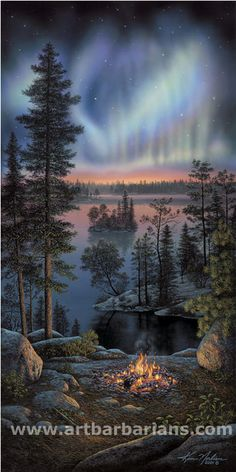 Wildlife art prints plus original paintings with a wide selection from ArtBarbarians.com located in Minnesota. Nightfire By Kim Norlien
