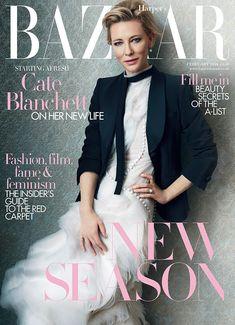 Cate Blanchett wears gown on Harper's Bazaar UK Magazine February 2016 cover shoot