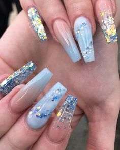 Aug 2019 - Cute blue ombre nails glitter nails and light blue nails design Nails Light Blue Nail Designs, Cute Acrylic Nail Designs, Beautiful Nail Designs, Best Nail Designs, Crazy Nail Designs, Ombre Nail Designs, Blue Ombre Nails, Light Blue Nails, Blue Nails Art