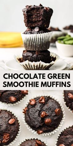 These Chocolate Green Smoothie Muffins are easy to make and packed with wholesome ingredients like bananas, oatmeal, almond flour and spinach! Banana Brownies, Chocolate Banana Muffins, Chocolate Chip Recipes, Chocolate Chip Oatmeal, Gluten Free Chocolate, Vegan Chocolate Cupcakes, Gluten Free Recipes, Vegan Recipes, Juicer Recipes