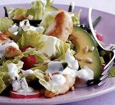 Full of flavour with less fat!  Warm chicken & avocado salad