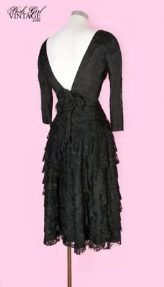 1950's Backless Lace Little Black Dress