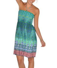 Green Beaded Batik Halter Dress
