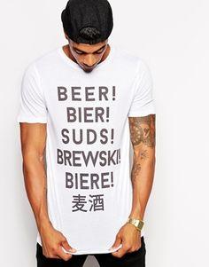 0d12857f ASOS T-Shirt With Beer Language Print Asos T Shirts, Latest Mens Fashion,