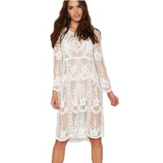 BA289 Unique design loose beach dress summer style 2016 new arrival white lace dress long sleeve knee length swimsuit //Price: $27.36 & FREE Shipping //     #hashtag3