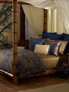 Eye For Design: Tropical British Colonial Interiors  Bamboo bedframe