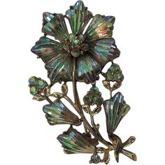 Coro Pegasus 1950's Floral Fruit Salad Molded Glass Brooch