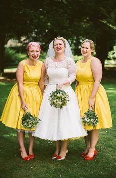 Lindy Bop Vintage 1950s Bridesmaid Dresses Short Quirky Modern Yellow Grey City Wedding http://jenmarino.com/