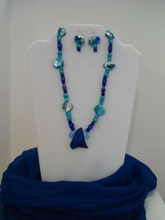Vibrant Blue Necklace & Earrings Set: Blue Imperial Jasper pendant, Sapphire Glass, Aventurine, Mother of Pearl Shell, Turquoise Wood beads by ATouchOfT on Etsy