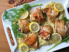 Lemon Roasted Chicken Thighs with Dilled Orzo