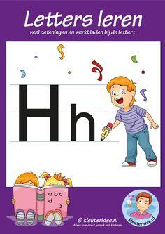 Pakket over de letter h blad 1, voorkant, letters aanbieden aan kleuters, kleuteridee.nl, free printable.