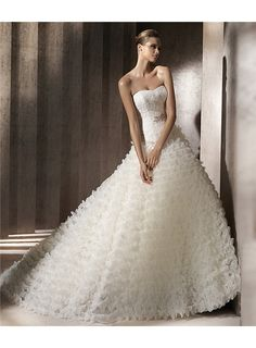 Cheap Junoesque Strapless Floor-length Appliques& Tiered Chapel A-line Wedding Dresses Under Price 256.99 - Gifilight.com