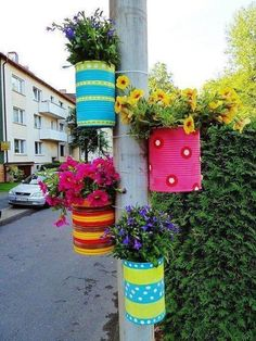 Painted cans as flower pots - colorful!