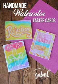 Simple handmade Easter cards are made with card stock, grease pencil and watercolor paints are great for adults and kids! Ideas to make the cards include religious sayings or spring pictures or anything happy! An easy DIY project. via @camillegabel Easter Crafts For Adults, Easter Crafts For Kids, Easter Ideas, Easter Activities, Easter Cards Religious, Religious Sayings, Diy Easter Cards, Easter Paintings, Diy Ostern