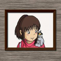 """Instant download PDF cross stitch pattern of Chihiro with mouse and bird friends, inspired by Miyazaki's film, """"Spirited Away."""""""