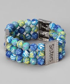Take a look at this Blue Triple Strand 'Sisters' Stretch Bracelet by Viva Beads on #zulily today!