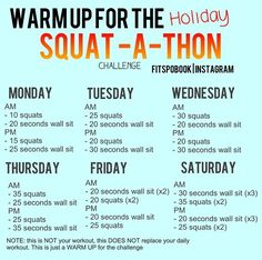 Fitness and Health: Holiday Squat -a-thon! Daily Workout Challenge, Squat Challenge Results, 7 Day Workout, Challenge Accepted, Boxing Workout, Fitness Motivation Pictures, Fit Girl Motivation, Exercise Motivation, Fit Girls Bodies