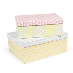 2 boîtes en carton jaunes, roses et vertes L 30 et L 35 cm HOME VINTAGE