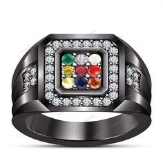 0.86 Carat Multi-Color 14K Black Gold Finish Navaratana Mens Band Ring Size 7-14…
