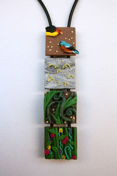 "polymer clay, duck decoy cord. Each square is 1""x1"" Based on the parable of the sower: ""Listen! A farmer went out to sow his seed. As he was scattering the seed, some fell along the path, and the birds came and ate it up. Some fell on rocky places, where it did not have much soil. It sprang up quickly, because the soil was shallow. But when the sun came up, the plants were scorched, and they withered because they had no root. Other seed fell among thorns, which grew up and choked t..."