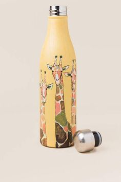Giraffe Stainless Water Bottle Giraffe Ring, Cute Giraffe, Giraffe Jewelry, Water Bottle Gift, Cute Water Bottles, Giraffe Decor, Giraffe Art, Giraffe Painting, Elephant