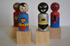 Batman Superman Spiderman Birthday Wooden Peg by DreamAndCraftKids
