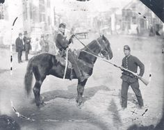 Mounted Union Major Napoleon B. Knight of the 1st Delaware Cavalry posing on Main Street in Westminster, Maryland,