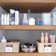 """2,673 Likes, 26 Comments - THE HOME EDIT ® (@thehomeedit) on Instagram: """"Open shelving in a bathroom requires a lot of contained storage. We used a combination of…"""""""
