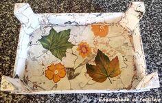 Bandeja imitación piedra decorada con decoupage - foto 3