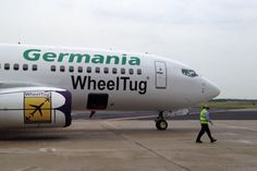 Germania 737 taxies under the power of electric-drive nose gear developed by Wheeltug
