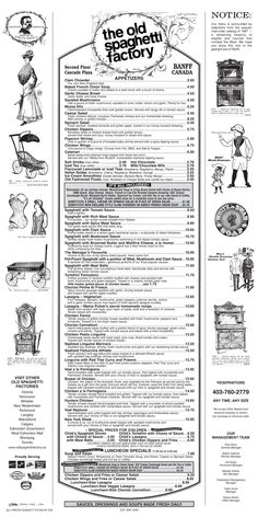 The Old Spaghetti Factory menu. I always ordered the one with brown butter & mizithra cheese. Vintage Menu, Vintage Recipes, Vintage Ads, Vintage Food, Restaurant Identity, Restaurant Menu Design, Restaurant Recipes, Mizithra Cheese, Chicken Dippers