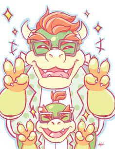 Nintendo: Megane Bowser + Bowser Jr. by SugarKills.deviantart.com on @DeviantArt