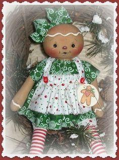 PriMitive Folkart Raggedy Ann ~ Gingerbread Girl ~ Let's Bake ~ Green #NaivePrimitive
