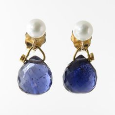 Petite Faceted Iolite Briolette and Freshwater Pearl Drop Earrings with 14K Gold Ear Posts - 1/2""