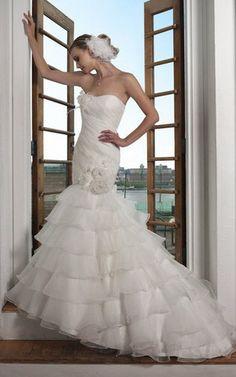Vintage ärmelloses romantisches Brautkleid mit Blume aus Organza