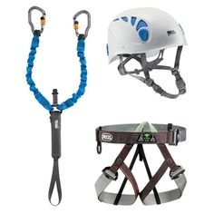 The Petzl Via Ferrata Kit offers climbers ready-to-use equipment specific to via ferrata. It includes a Pandion harness, an Elios helmet and a Scorpio Vertigo lanyard with 2 locking carabiners. Climbing Harness, Kids Climbing, Used Equipment, Rappelling, Helmet Design, Outdoor Recreation, Bicycle Helmet, Kit, Outdoors