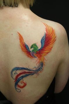 Colorful Phoenix Tattoo On Right Back Shoulder