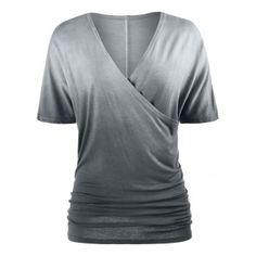 d43b8b0dcc5508 V Neck Ombre Scrunch T-shirt