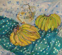 "huariqueje: ""  Still life with bananas - Maya Kuzminichna Kopitseva , 1975 Russian, 1924-2005 Oil on canvas, 70 x 80 cm. """
