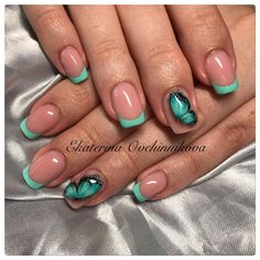 Одноклассники Rose Gold Nails, Green Nails, Pink Nails, Gorgeous Nails, Pretty Nails, Romantic Nails, Butterfly Nail Art, Nail Photos, French Tip Nails