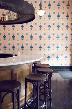 Portland bar, Angel Face, with hand-painted floral walls by local artist Michael Paulus