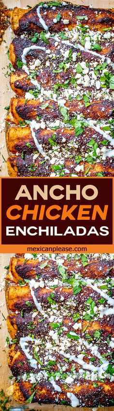 Ancho chili peppers combine with roasted tomatoes to create incredibly rich flavor for this chicken enchilada dish. It's easy too. No more enchilada sauce from the can OK? mexicanplease.com