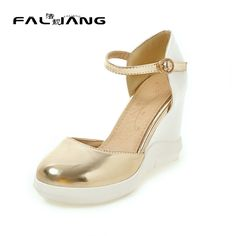 31.00$  Buy now - http://aliebb.shopchina.info/go.php?t=32800087433 - Womans Summer Shoes 2017 Fashion Buckle Strap Casual Wedges Womens Shoes Size 11 12 Platform Extreme High Heels  31.00$ #buychinaproducts