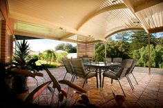 With curved roof patio, you can enjoy natural light in your outdoor living area.