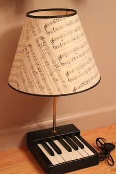Piano Keys Wooden Lamp w/ music notes Lamp Shade Unique
