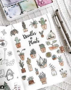 More doodle inspiration! Create cute plant doodles in your bullet journal or planner. Fun, easy to make doodles anyone can draw! Self Care Bullet Journal, Bullet Journal Ideas Pages, Bullet Journal Spread, Bullet Journal Inspiration, Journal Pages, Beginner Bullet Journal, Doodling Journal, Bullet Journal Icons, Bullet Journal Headers