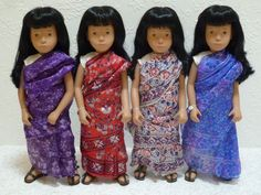 A grouping of four Sasha Sari dolls, United Kingdom, 1986, by Trendon Toys.  Reflecting the changing demographics of life in Britain and the immense contribution of Indian immigrants on life in the UK, this doll was made during the abortive final year of production in Stockport in a reduced edition of around 400 pieces.  Each sari is unique and made from a silk Indian scarf.  These four examples were at one time in the collection of Fran and were photographed for her blog, Sasha, Sasha…